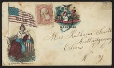 """[Civil War envelope showing Columbia with American flag bearing message """"For the Union"""" and state seal of Maryland]"""