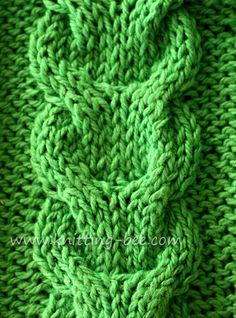 Free link cable knitting stitch pattern - the site has a TON of free knitting stitch patterns