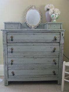 DIY shabby chic paint. Fifty dollar dresser, million dollar paint job.