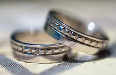 White gold custom designed and handmade matching mens bands. Style and elegance! Priced upon request.