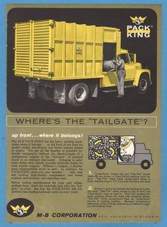 1964 M-B Corp Pack King Garbage Refuse Truck New Holstein WI  Photo print Ad