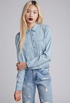 91217969 $22, Forever 21 Boxy Chambray Shirt. Sold by Forever 21. Click for more · Blue  Denim ...