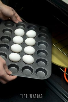 {creamier yolks and the egg white isn't rubbery}  Hard-Boiled Eggs in the Oven