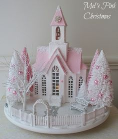 A pink and white Christmas glitter church snow scene/ putz houses Miniature Christmas, Christmas Paper, Pink Christmas, All Things Christmas, Christmas Home, Vintage Christmas, Xmas, Christmas Mantles, Victorian Christmas