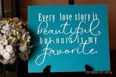 Love Story 10x12 Wooden Vinyl Sign. $20.00, via Etsy.