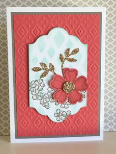 Birthday Blossoms stamp set with a stencilled background and Boho Chic embossed layer - created by Julia Jordan of papercraftelegance.blogspot.com