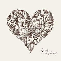 Vintage corazón de las rosas Foto de archivo - 11377065