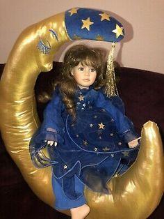 """Sweet Dreams & Moonbeams"" Porcelain Fairy Doll With Gold Moon by Ann Timmerman  | eBay Porcelain Dolls For Sale, Baby Bug, Art Village, Russian Folk Art, Primitive Folk Art, Fairy Dolls, Sweet Dreams, Doll Clothes, Ann"