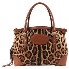 4520ad2fd440 DOLCE & GABBANA Animalier Leopard Animal Print Canvas & Brown  Leather Satchel #DolceGabbana