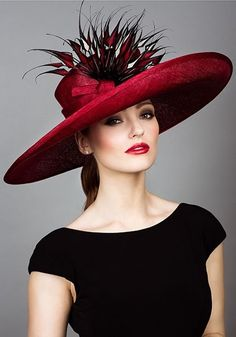 Rachel Trevor Morgan, S/S 2014. Fine straw picture hat with red and black arrow feathers. #passion4hats