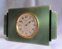 reloj de Art Deco en plata con esmalte de color verde y negro ..