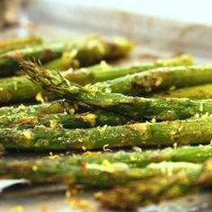 Roasted Asparagus with Pesto & Lemon | Meals.com -  This veggie dish is ready in less than 30 minutes and is a perfect side dish for most any meal. It is bursting with flavors. Add shredded parmesan cheese for an elegant and tasty final touch.