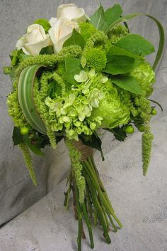 Green bouquet- close but mine will have purple and white hydrangea, fern and thistle