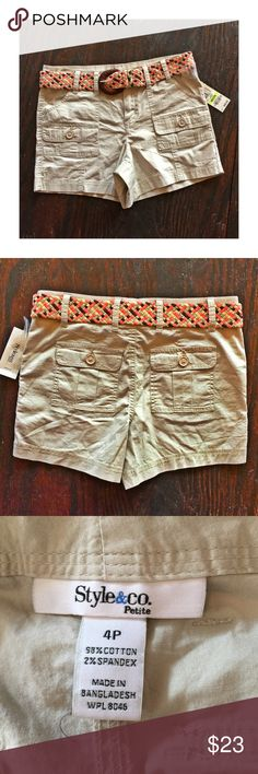 "Style & Co. khaki shorts w/ braided belt NWT Style & Co.'s adorable  khaki shorts with braided belt. These are short shorts- inseam is 4"" NWT Style & Co Shorts"