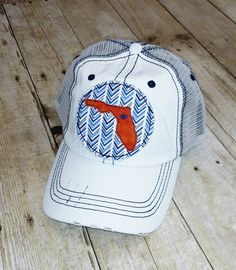 6db7001f50a Florida Home Embroidered Blue and White Chevron Raggy Patch Distressed  White and Navy Trucker Hat or Messy Bun High Ponytail Cap