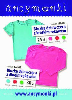 Bluzki dziewczęce - różne kolory , krótki oraz długi rękaw - #ancymonki #Blouses   girls - different colors, #short   and #long   sleeve - #ancymonki #blusen   Mädchen - verschiedene Farben, #kurze   und #lange   Ärmel - #ancymonki