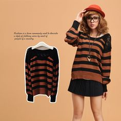 Korean VIVI sweet lace stitching striped lantern sleeve sweater