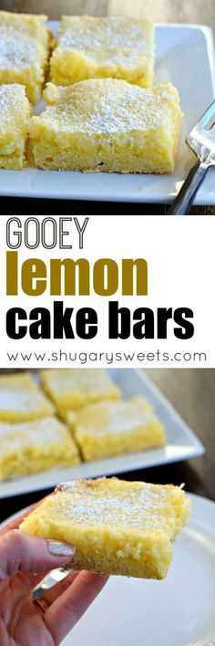 Turn your favorite Gooey Butter Cake into a Lemon dessert! Gooey Lemon Cake Bars will make you quite happy, and nobody has to know you started with a mix! #lemonbars