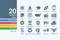 20 United States icons by Palau on Creative Market