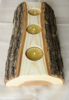 Massive Wood Candle Reversible Tealight by BlisscraftandBrazen