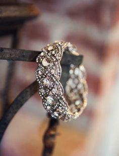 Stunning gold and diamond wedding band #Golden Wedding