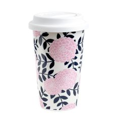 Navy Blush Ceramic Travel Mug - TricoastalDedesigns.com