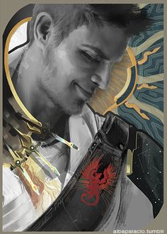 albapalacio:  Alistair -tarot card. Or how I do a portrait and decorate the rest how I like with this excuse.  Seriously, one goog thing about Inquisition, seeing our Warden again