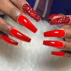 Prom Nails, Bling Nails, Gorgeous Nails, Pretty Nails, Red Nail Designs, Art Designs, Hello Kitty Nails, Nails Today, Cat Nails