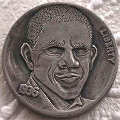 FINN LaRUE HOBO NICKEL - OBAMA - 1936 BUFFALO NICKEL Hobo Nickel, Caricature, Obama, Coins, Carving, Buffalo, Presidents, Art, Art Background