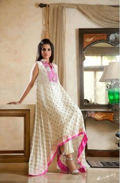 pakistani dresses designers | Off-White Embroided A-Line Floor Length Crinkle Chiffon Party Dress
