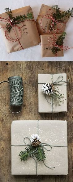 16 Favorite Easy Gift Wrapping Ideas (Many are Free!)Here comes 16 favorite gift wrapping ideas for Christmas and everyday celebrations! These gift wrapping ideas offer lots of inspirations such as creat. Noel Christmas, Rustic Christmas, Winter Christmas, Christmas Ideas, Family Christmas, Christmas Reef, Cheap Christmas, Christmas Quotes, Christmas Movies