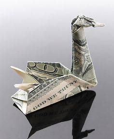 Currently browsing Creative Origami with Dollar Bills by Craig Sonnenfeld for your design inspiration Origami Dove, Origami Swan, Origami Art, Dollar Bill Origami, Money Origami, Dollar Bills, Folding Money, Origami Paper Folding, Paper Art