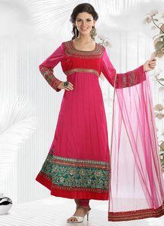 $278 Cbazaar #Pink #Embroidered #Georgette #ChuridarSuit
