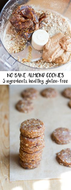Itty Bitty No Bake Almond Cookies -- only five ingredients, free of refined sugar, vegan and gluten-free.