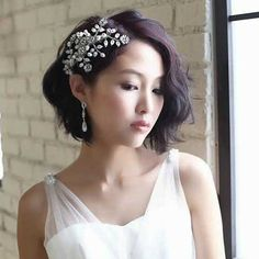 """"""" """" Stylish Wedding Hairstyles for Short Hair in 2019 wedding hairstyles, short wedding hairstyle, shoulder length hairstyle, bob wedding hairstyle Vintage Curly Hair, Vintage Curls, Vintage Bridal Hair, Short Hair Updo, Short Hair Cuts, Curly Hair Styles, Short Undercut, Short Hair For Brides, Bob Updo Hairstyles"""