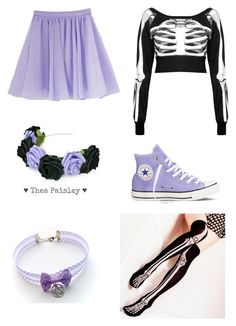 """""""Pastel Goth"""" by pipertehcat ❤ liked on Polyvore featuring Killstar, Blume, Converse, pastelgoth and pastelsandblack"""