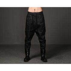 Mens Dark Shadow Low Crotch Washed Drawstring Jeans