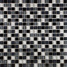 @Overstock - Smooth, translucent glass mosaic tile  Unglazed smooth finish with a high sheen and a uniform appearance in tone  Easy to install 11.75 x 11.75 x 0.31 mesh mounted tileshttp://www.overstock.com/Home-Garden/SomerTile-12x12-in-Reflections-Mini-5-8-in-Night-Glass-Mosaic-Tile-Pack-of-10/4565019/product.html?CID=214117 $136.55