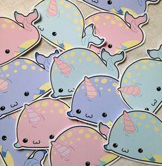 Chibi Narwhal kawaii sticker set of twelve in pastel colours
