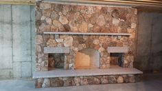Thin stone fireplace