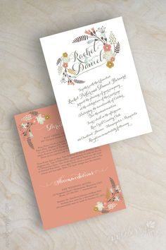 Boho chic floral wedding invitation, botanical flowers, botanical wedding invitation, garden wedding invite, peach, coral, gray, baby blue, Myriame. www.appleberryink.com