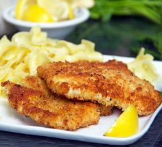 Chicken Schnitzel: Crisp on the outside, tender inside. Delicious with buttered noodles! #WeekdaySupper