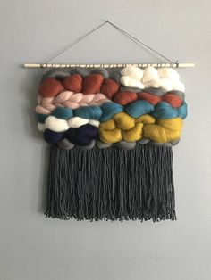 Woven Woven Wall Hanging // Woven Tapestry Source by lenist Weaving Textiles, Weaving Art, Tapestry Weaving, Loom Weaving, Hand Weaving, Yarn Wall Art, Yarn Wall Hanging, Tapestry Wall Hanging, Wall Hangings