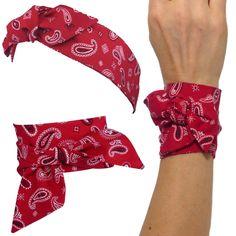 37e0c3fa2230 Foulard   bandeau à nouer, tissu japonais, motif bandana, à cheveux,  bracelet, headband fil de fer, blanc noir rouge
