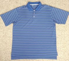Adidas Golf DRY-FIT POLO T-SHIRT Striped Blue/White Polyester MENS LRG loose-fit #adidas #ShirtsTops
