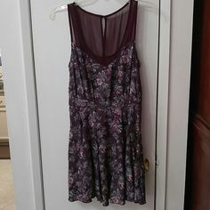 Kimchi Blue Floral Dress Deep plum color. Women's size medium. Slit back opening. Worn once, excellent condition. Bought at urban outfitters. Kimchi Blue Dresses Mini