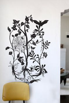 wall decal with spider web and bat