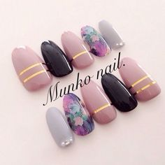 58 new ideas for nails gray black make up Classy Nails, Fancy Nails, Love Nails, Trendy Nails, Stylish Nails, Classy Nail Designs, Nail Art Designs, Nails Design, Fabulous Nails