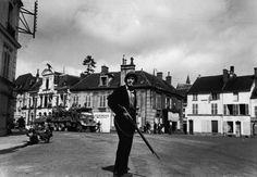 A French resistance fighter in the recently liberated town, Chartres, 1944.