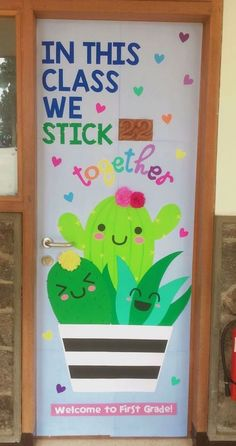 22 Super Sharp Cactus Classroom Theme Ideas In This Class We Stick Together is a cute cactus theme door decor. This article also gives other cactus themed decorating ideas for the classroom! Summer Bulletin Boards, Back To School Bulletin Boards, Preschool Bulletin Boards, Classroom Board, New Classroom, Classroom Design, Kindergarten Classroom Door, Bulletin Board Ideas For Teachers, Elementary Classroom Themes